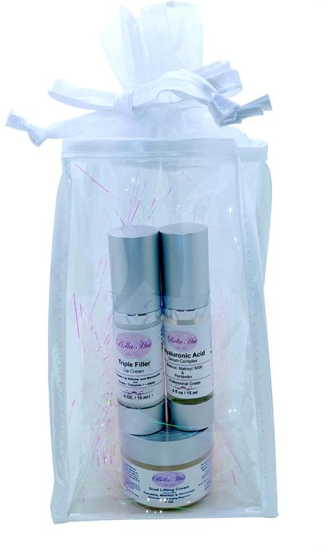 Bellahut Holiday Gift Bag with lip cream, hyaluronic acid face serum and nighttime face cream